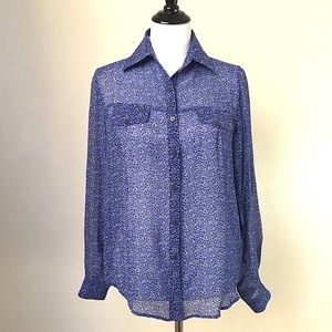 Yumi Kim Animal Print Silk Blouse Size Small